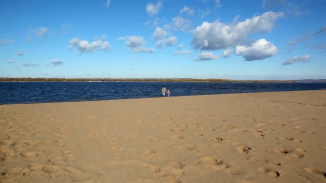 Man and girl runs on sandy beach video