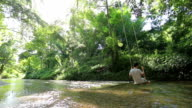 Man and swing in forest and stream video