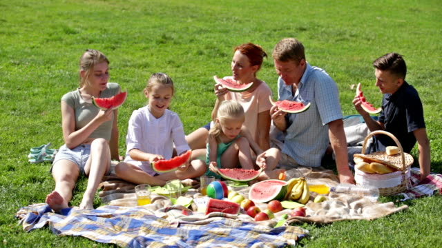 man and woman with four kids having watermelon on picnic video
