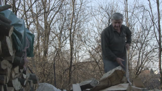 Man chopping wood slow motion video