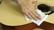 Man clean the guitar video