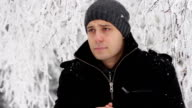 Man Coughing Outside Cold Weather Winter Sickness video