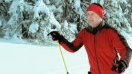TS SLO MO man cross country skiing in nature video