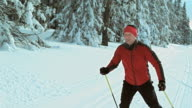 TS SLO MO man cross country skiing in skate technique video