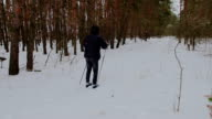 man cross-country skiing in the woods video