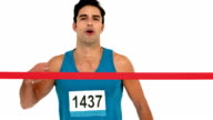 Man crossing finish line video
