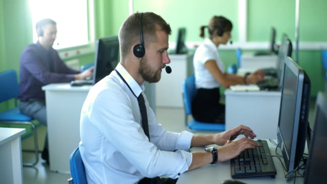 man customer service in call center video