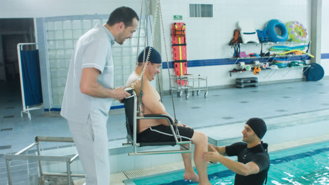 Man doing physical therapy in the water video
