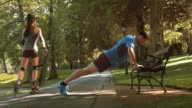 DS Man doing pushups on a bench in the park video