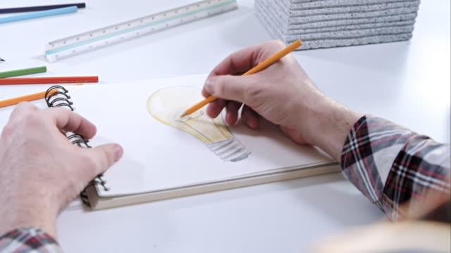 Man drawing a light bulb video