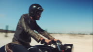 Man driving on his motorcycle on highway video