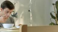 HD: Man Eating Hospital Food video