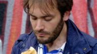 Man eats kebab - street food - shish video