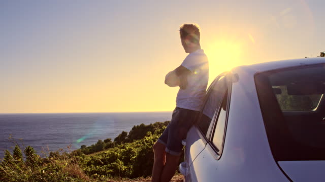 WS DS Man Enjoying Sunset On The Sea video