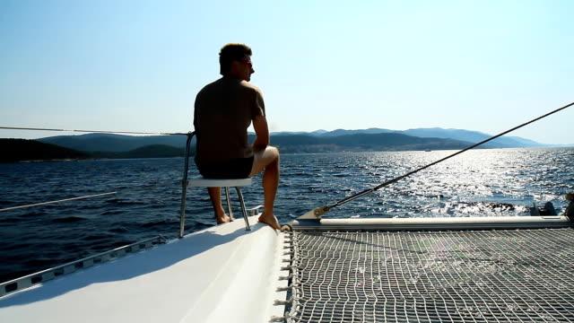 HD: Man Enjoying The View While Sailing video