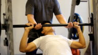 man exercise with barbell video