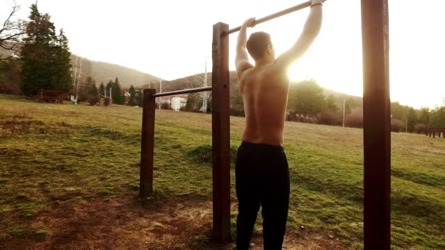 Man exercising in the park video
