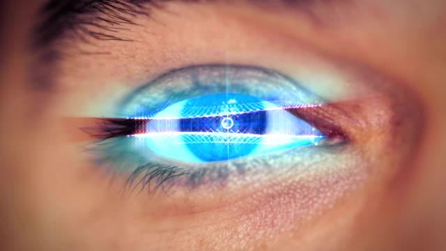 man eye looking on digital virtual screen video