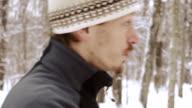 Man face in winter time, stedikam shot video