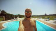 Man falling in swimming pool video