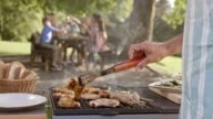 SLO MO Man flipping meat on grill at family picnic video