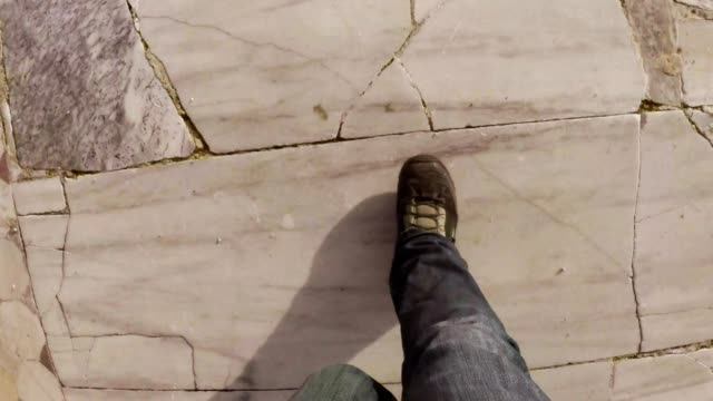 POV man goes on layings of marble tiles antique town Salamis east Cyprus Famagusta video