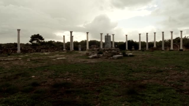 POV man goes to column in the middle of Roman agora  ancient town Salamis east Cyprus Famagusta video
