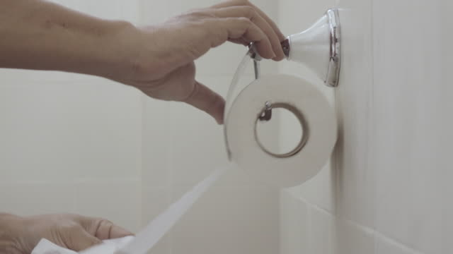 Man Grab Sanitary Paper With Two Hand 4k. video