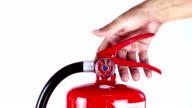 Man grabs a fire extinguisher video
