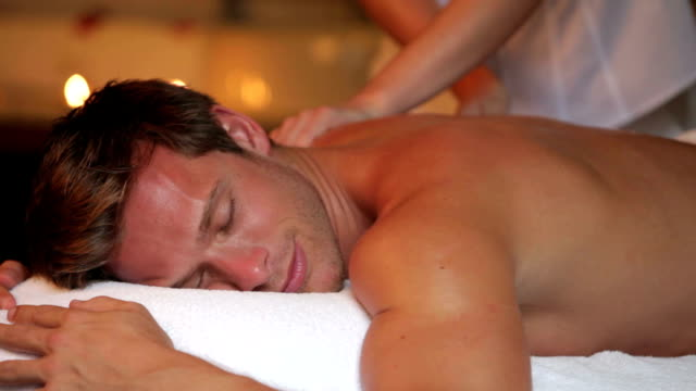 Man Having Massage In Spa video