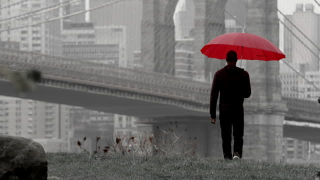 A man holding an umbrella walks away from the camera towards the Brooklyn Bridge in slow motion video
