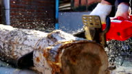 Man Holding Chainsaw. Slow motion video