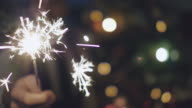 Man holding Sparkler at Christmas video