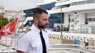 Man in a captain's uniform. video