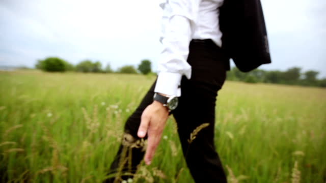 Man in a suit walks in the field video