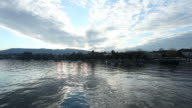 Man in canoe on Lake Zurich video