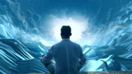 Man in digital tunnel. Meditating in virtual reality video
