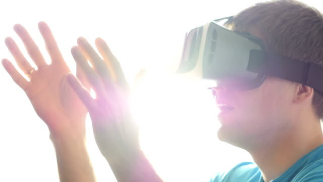 Man in Virtual Reality Glasses. video