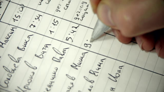Man in White Coat Writes Fictional Russian Names With Ballpoint Pen in Notebook video