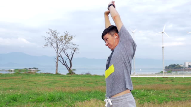 Man is doing an exercises in the morning,Slow motion video