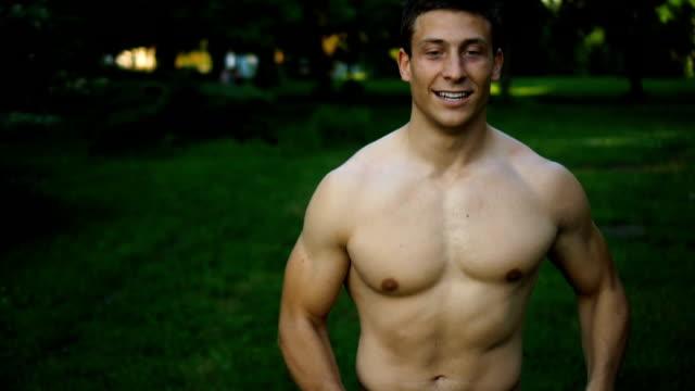 Man is jogging in park video