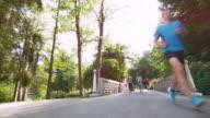 DS Man jogging across a bridge in the park video