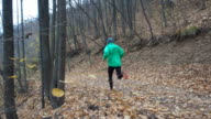 Man jogging cross country running on trail in forest. Training and exercising outdoors when cross country running in inspirational autumn landscape. Sports Motivation. Slow Motion. video