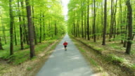 HD HELI: Man Jogging On A Forest Road video