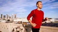 Man Jogging Through Los Angeles video