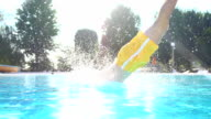 HD SUPER SLOW-MO: Man Jumping In The Pool video