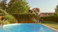 SLO MO TS Man jumping into the pool with big splash video