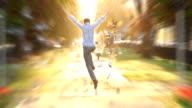 Man jumps high super slow motion shot heaven sun light video
