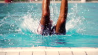 Man jumps into the swimming pool video