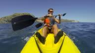Man kayaking in the Mediterranean sea in Spain video